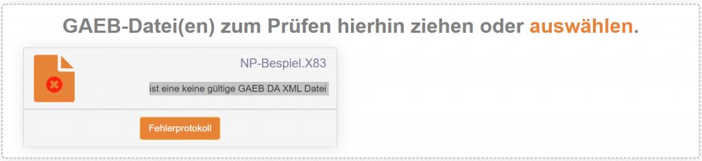 Fehlerhafte GAEB DA XML Dateien