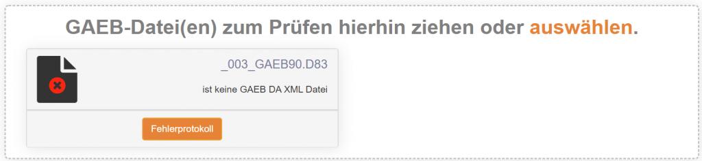 keine GAEB DA XML Datei